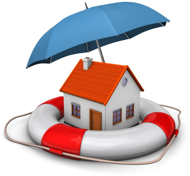house with umbrella over it in life preserver
