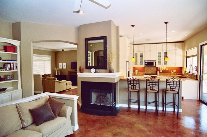 home kitchen interior, open floor plan