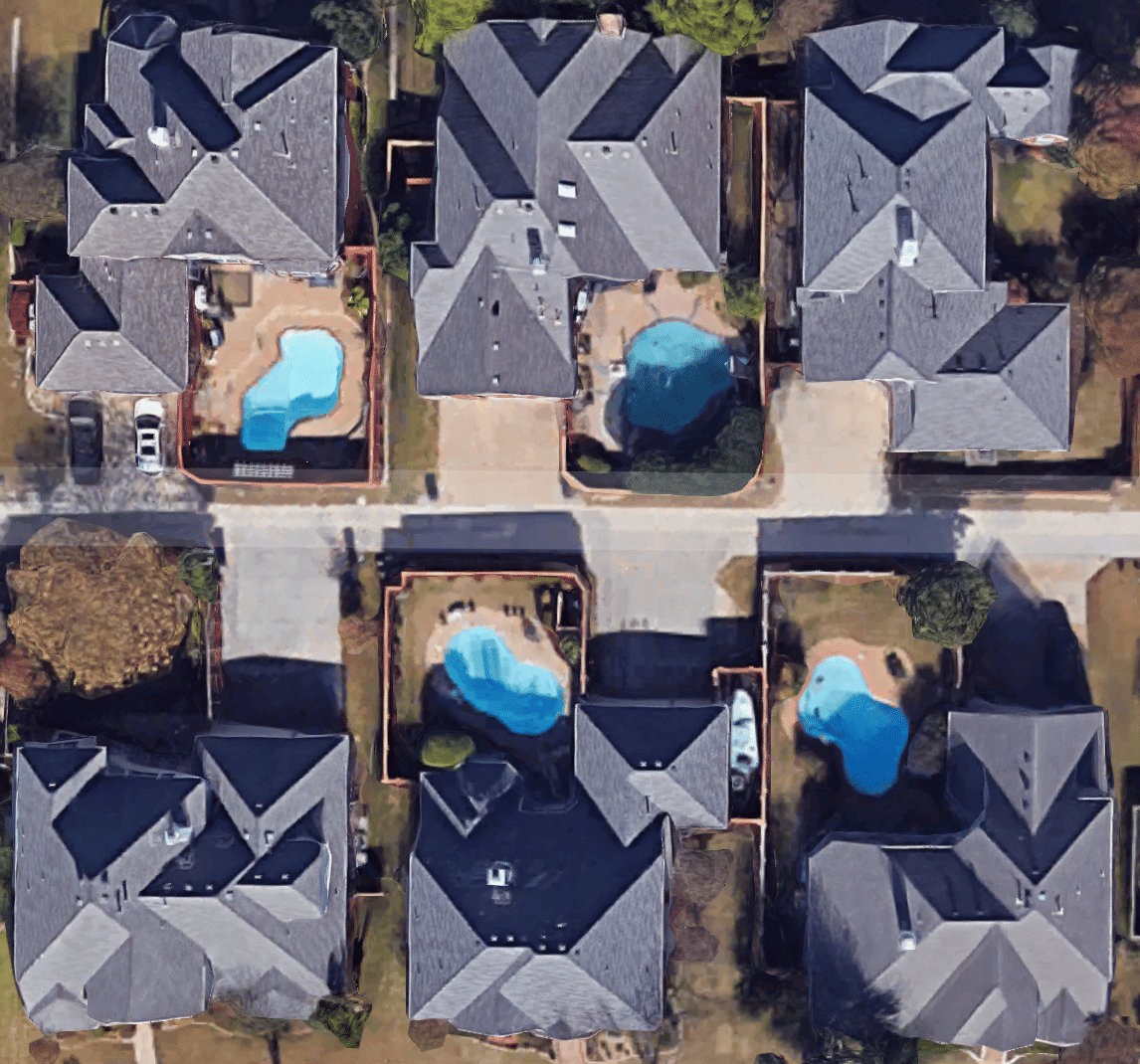 satellite photos of homes with pools